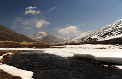 Snow Mountain View and water stream with Blue Sky at Zero Point Stock Photography