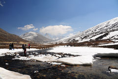 Snow Mountain View and water stream with Blue Sky at Zero Point Royalty Free Stock Images