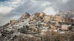 Snow on mountain village of Speloncato in Corsica Royalty Free Stock Photography
