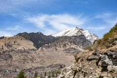 Mountains nature landscape. Snow mountains ans brown mountains landscape nature stock photography
