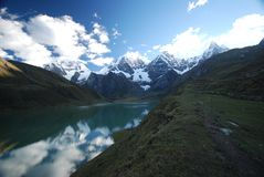 Snow mountains and azure lake in Peru Stock Photography