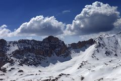 Snow mountains and blue sky with cloud in nice day Royalty Free Stock Image