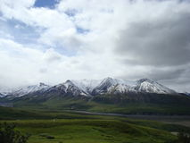 Snow on mountains in DNP. Fresh snow on mountains in Denali National Park during summer Stock Photography
