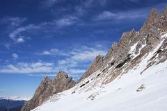 Snow mountains. Dolomiti snow ski mountain italy stock photo