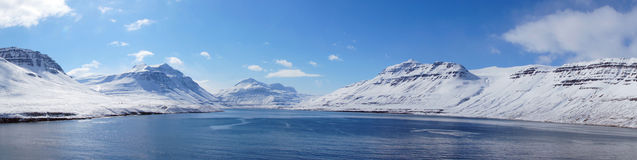 Snow mountains in fjord of of Seydisfjordur in Iceland Royalty Free Stock Photography