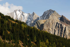 Snow mountains and forests Royalty Free Stock Photography