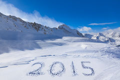 2015 on snow at mountains Stock Photography