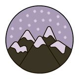 Snow in the mountains icon vector illustration