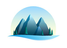 Snow mountains illustration Stock Photos