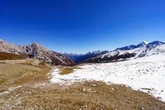 Snow Mountains in Jiuzhaigou Valley. With blue sky Stock Image