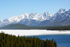 Snow mountains and lake Royalty Free Stock Image