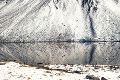 Snow mountains and a lake in Switzerland. Fluela pass in Switzerland in winter. stock photo