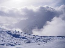 Snow mountains landscape stock photos