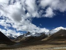 Snow Mountains Landscape in Pamir. The Pamir Mountains, or the Pamirs, are a mountain range in Central Asia at the junction of the Himalayas with the Tian Shan Royalty Free Stock Images