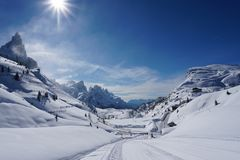 Snow mountains landscape sunny day Royalty Free Stock Photo