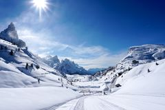 Snow mountains landscape sunny day stock images
