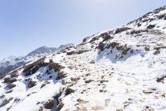Snow mountains peak in Nepal Himalaya. Trek in Nepal Gosaikunda and Nepal valley tourism Stock Photography