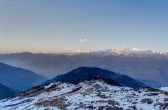 Snow mountains peak in Nepal Himalaya. Trek in Nepal Gosaikunda and Nepal valley tourism Royalty Free Stock Photo