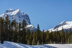 Snow mountains peaks and forest landscape under sunlight early spring as background. Nature, sky, beautiful, outdoor, scenic, travel, green, natural, view stock photos