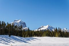 Snow mountains peaks and forest landscape under sunlight early spring as background. Nature, sky, beautiful, outdoor, scenic, travel, green, natural, view stock photo