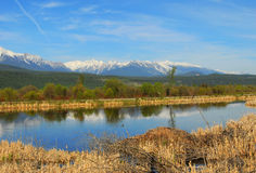Snow mountains and river Royalty Free Stock Photos