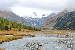 Snow mountains and river Stock Photo