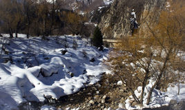 Snow in the mountains. Small Almaty gorge spring Stock Images