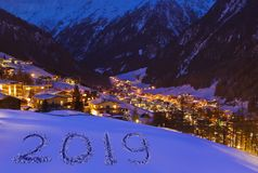 2019 on snow at mountains - Solden Austria stock image
