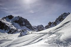 Snow in the mountains. Talgar Pass Royalty Free Stock Images