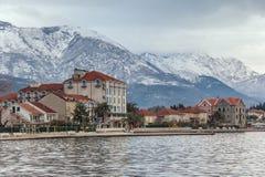 Snow in the mountains.  Tivat, Montenegro Stock Photos