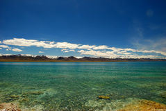 Snow moutain and the namtso lake Stock Image