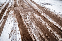 Snow and mud Royalty Free Stock Photo