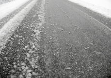 Snow mud on street Royalty Free Stock Photography