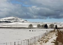Snow in the Natal Midlands. The hills of the Midlands, Kwazulu Natal, South Africa stock images