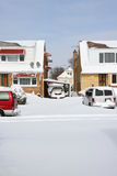 Snow in the neighborhood. A neighborhood in Chicago covered with snow after the blizzard Royalty Free Stock Images