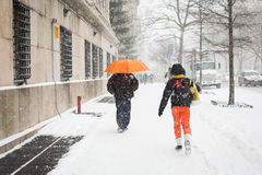 Snow in New York. It was taken to record the continuous storm in  New York Stock Photo