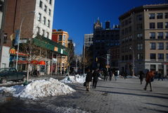 Snow on New York city streets Stock Photography