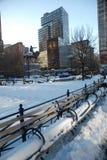 Snow on New York city streets Royalty Free Stock Photos