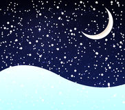 Snow at night crescent. Snow at night with a crescent moon, vector art illustration Stock Images