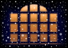 Snow night extra large window Royalty Free Stock Photography
