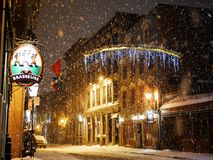Snow at night royalty free stock photography
