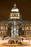 Snow in night Prague Royalty Free Stock Images