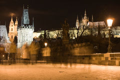 Snow in night Prague Stock Image
