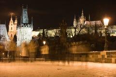 Snow in night Prague stock image