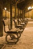 Snow in night Prague royalty free stock image