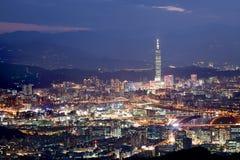 Snow Night scenes of the Taipei city , Taiwan royalty free stock photos