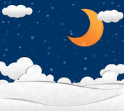 Snow in night Sky and Crescent Moon Stock Photo