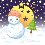 Snow and night. Snowman and night Cristmast and white snow Royalty Free Stock Photos