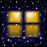 Snow night window Royalty Free Stock Image