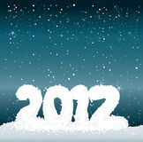Snow number 2012. Snow 2012 on night sky background / Happy New Year greeting card Stock Photos